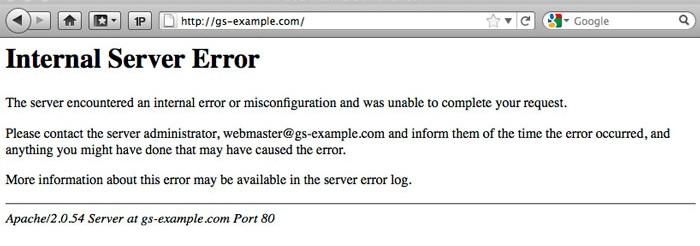 Error HTTP 500 Internal Server error