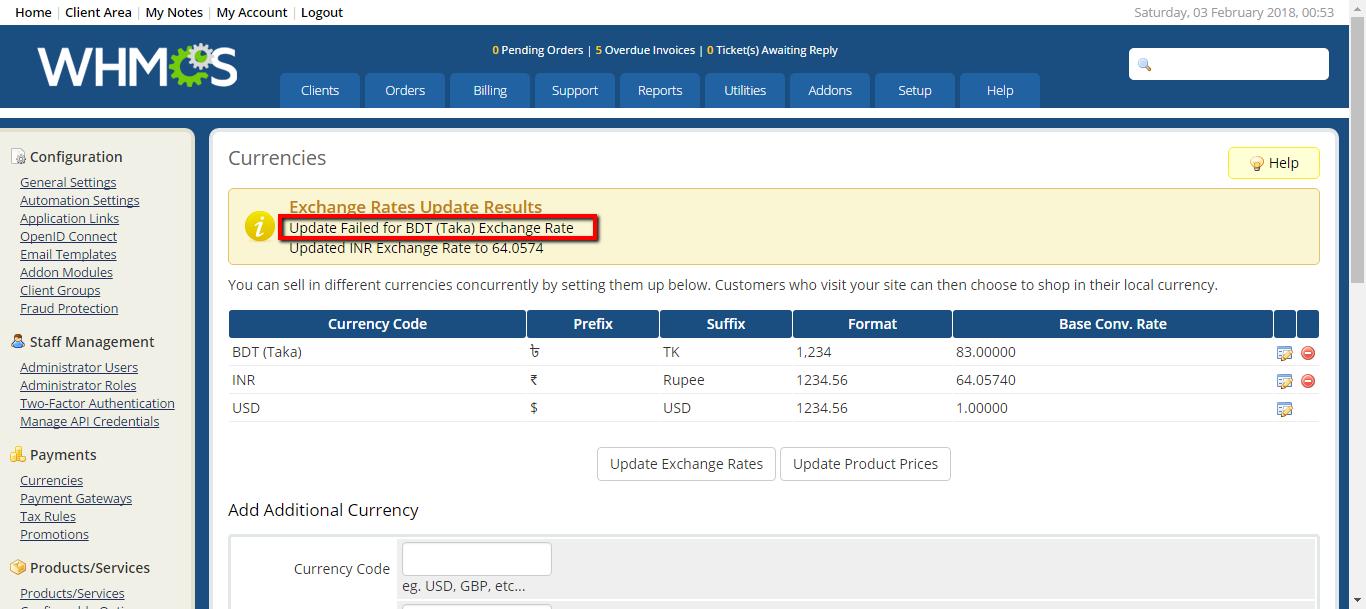 Solución a error: Update Failed for EUR USD en WHMCS